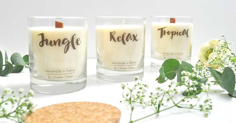 L'Atelier Green vous présente ses bougies en cire de soja 100% végétales et naturelles en édition limitée