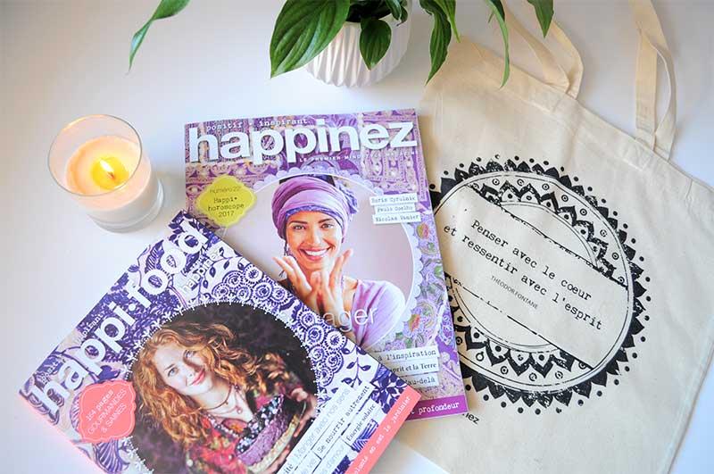 Gagnez le nouveau numéro de Happinez, le numéro hors-série Happi•food, ainsi que le nouveau sac en toile Happinez...