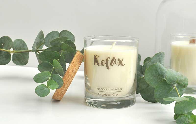 Bougie Végétal pafum Relax et Cosy. Un moment de détente et de cocooning pour un parfum doux et poudré