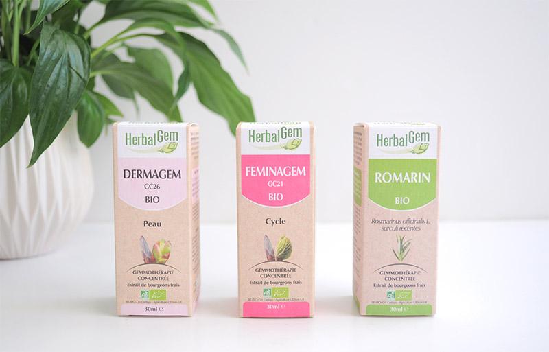 La gemmothérapie Herbalgem contre la petits problèmes de peau, de cycle... Des solutions simples et naturelles