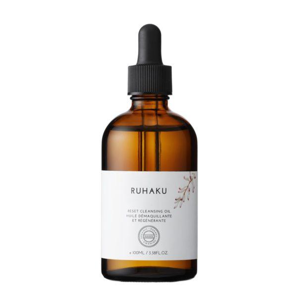 Huile démaquillante régénérante RUHAKU à base Gettou, puissant antioxydant.